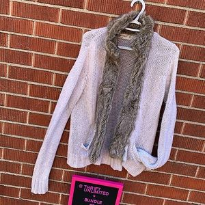 ZARA knit open cardigan with fur and pockets